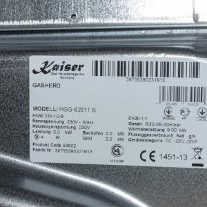 Плита газова Kaiser HGG 62511 B